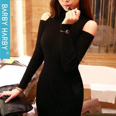 2014 new winter Slim strapless dress with high collar long-sleeved knit sweater dress sweater dress female bag hip bottoming