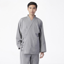 Big park Japanese muji style leisurewear lace-up loose bathrobe men lay meditation long-sleeved pants suit