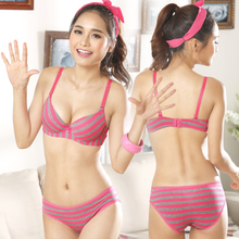 The new Japanese summer 2015 fluorescent comfortable cotton striped underwear cute after double-breasted jacquard bra set