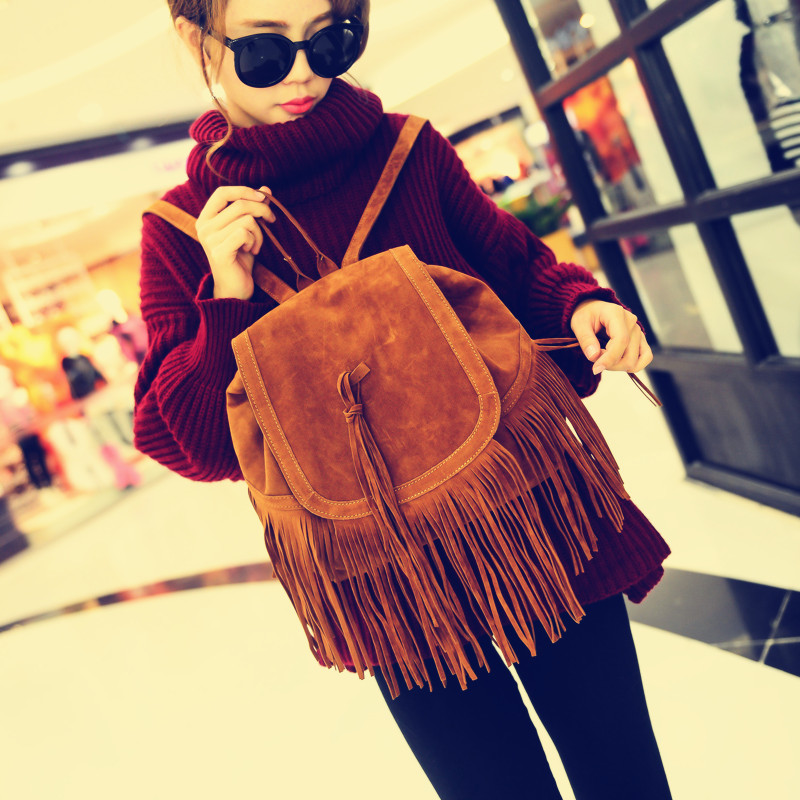 Exclusive custom 2014 new autumn and winter in Europe and America fringed shoulder bag handbag fashion leisure travel bag