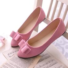 Age season single shoes for women's shoes new bow shallow mouth sweet doug round head flat shoes casual shoes big yards