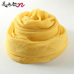 姜黄色丝巾女春秋百搭长款纱巾纯色方巾冬天保暖雪纺围巾超大披肩