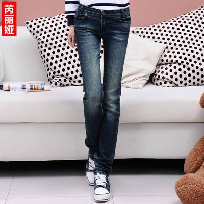 2014 Hitz Korean Slim waist jeans female trousers autumn paragraph student Korean Fan significantly thin straight jeans