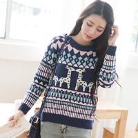 秋装女韩版圆领小鹿印花图案宽松长袖针织衫学生打底毛衣冬季上衣