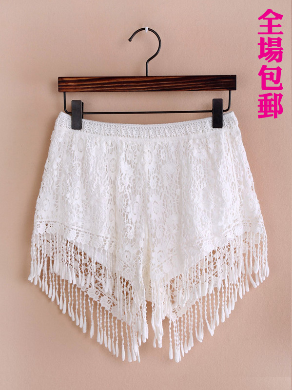 European style lace crochet hollow stream Su Leisi bottoming outer wear casual pants shorts shorts new summer influx of women