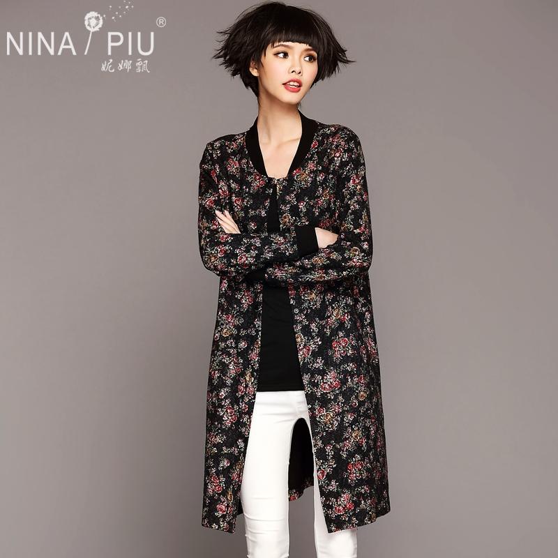 妮娜飘 2015秋季新款韩版棒球领花色外套时尚百搭中长款开衫 女