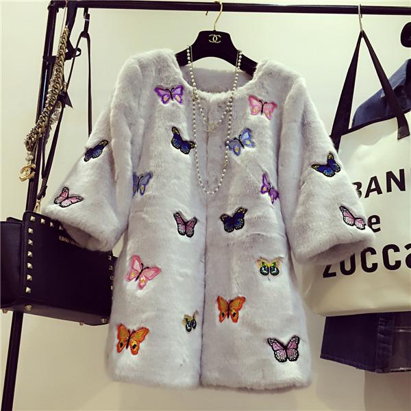 海宁反季2015狐狸毛整皮皮草外套獭兔毛绒袖子蝴蝶刺绣中长款加厚