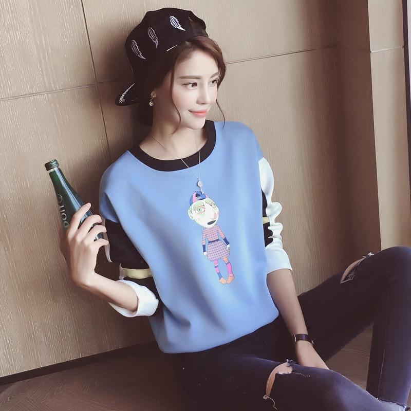 範春装新款女装2017 韩版卡通小人印花宽松套头学生卫衣外套