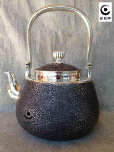 香薰松柏将军银壶紫辰轩鱼鳞纯手工精品高端复古烧水茶壶日本礼品