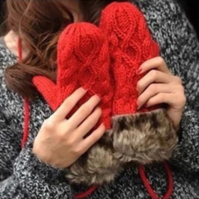 ollbtg Korean twist lovely ladies handmade woven thick warm winter wool gloves Halter