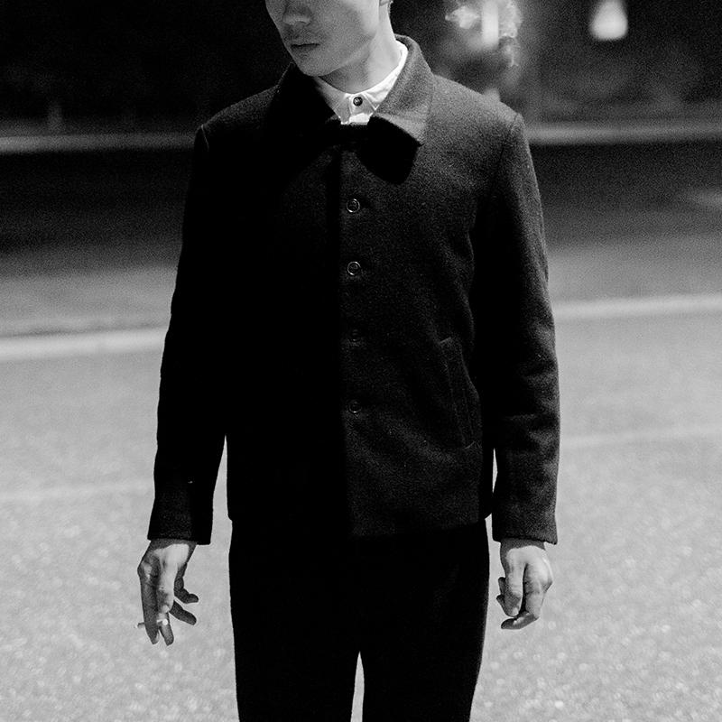 几立|老滋味 黑色多纽扣短款羊毛外套男士休闲工装款外套复古风