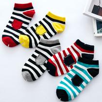 袜子夏天男士纯棉短袜条纹个性潮袜 低帮浅口运动防臭棉袜运动袜
