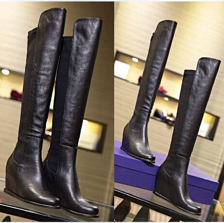 Top cow wearing cargo # super elastic stovepipe boots within the higher slope with knee boots women's boots