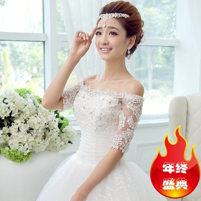 Wedding dress 2014 new winter word shoulder bride thick long-sleeved lace sleeves shoulder Qi was thin white