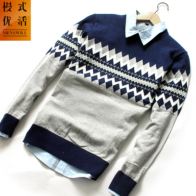 Cotton Flax blue pullover jacket male Korean Slim round neck cotton jacquard sweater thick sweater