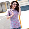 夏装格子纯棉衬衫女短袖时尚潮女装衬衣 衫