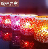 Hanlin home handmade mosaic glass candlestick flash chip Bar Valentine's Day romantic wedding candle Songcha