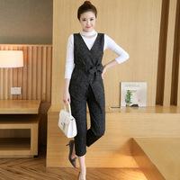 2016秋季新款韩版修身显瘦时尚套装T恤+马甲+九分裤三件套套装