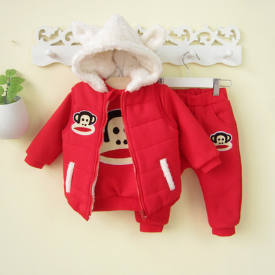 0-1-2-year-old baby girls winter 2014 new sweater plus thick velvet three-piece suit coat baby girl 3