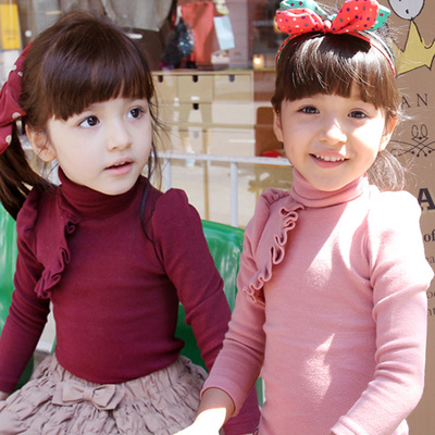 Special 2015 spring Korean version of the new children's clothing baby child models female lace high collar bottoming shirt tx-1339