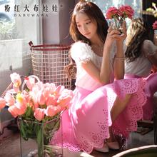 裙 夏粉红大布娃娃2015新款女装切花半身裙黑色低腰短裙显瘦半裙图片