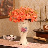 欧式花瓶送花 奢华陶瓷 装饰品大号 落地客厅电视柜摆件结婚礼物