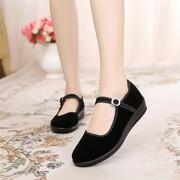 老北京布鞋女鞋平底单鞋工作鞋女黑色软底跳舞女鞋妈妈鞋防滑