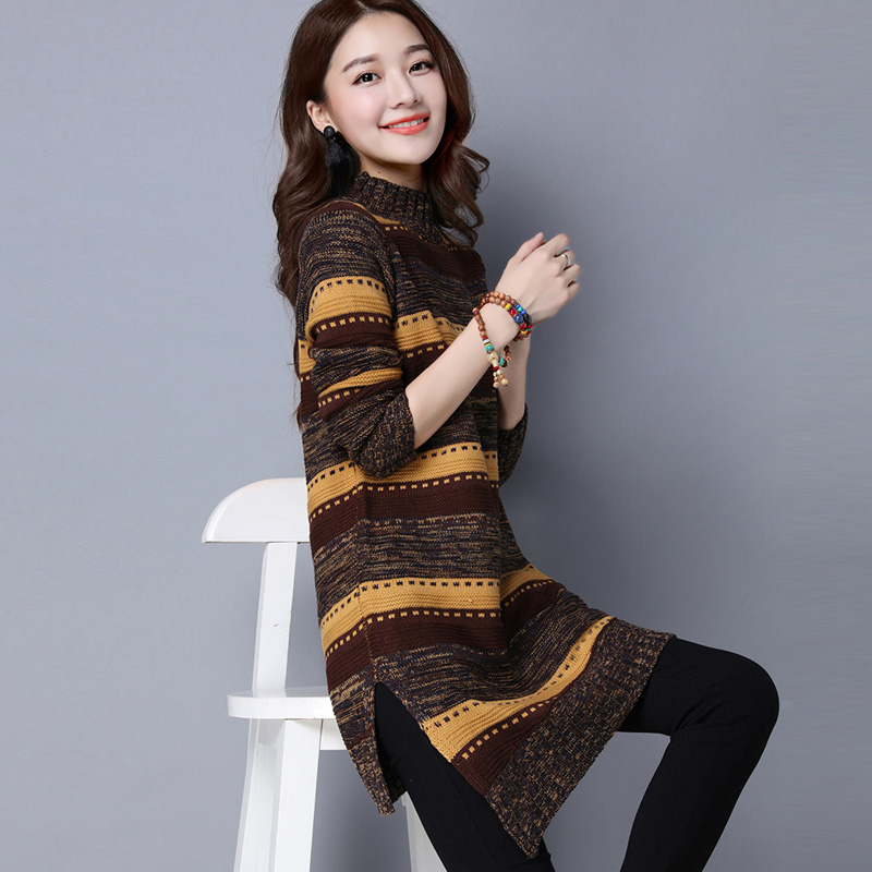 秋冬半高领打底毛衣女套头宽松中长款韩版针织衫条纹加厚毛衣裙潮
