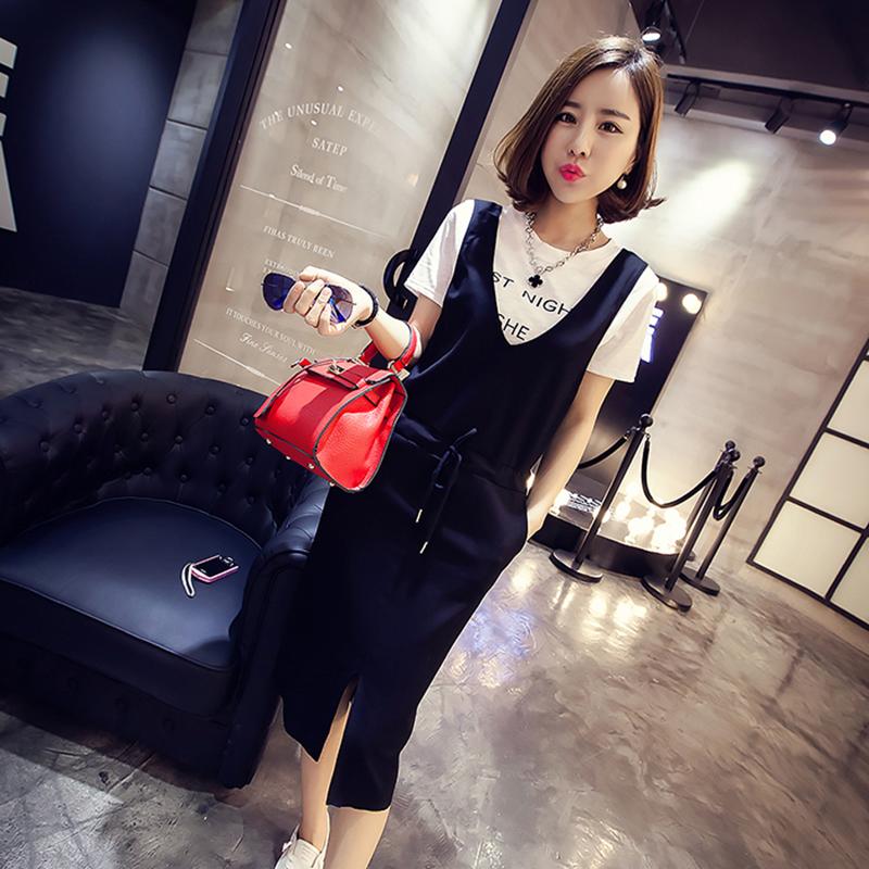 韩版夏装新款大码mm女圆领背心修身中长款修身夏短袖连衣裙套装潮