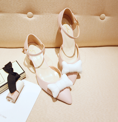 Ultra-comfortable on the feet can Aima Ka Long color small bow pointed wedges shoes (2 colors)