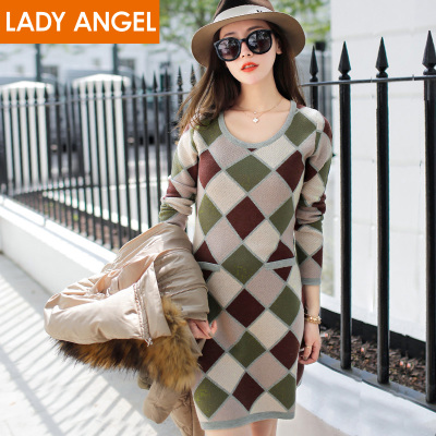 Choking mouth peppers 2014 winter new geometric jacquard knit skirt dress female 9814084L