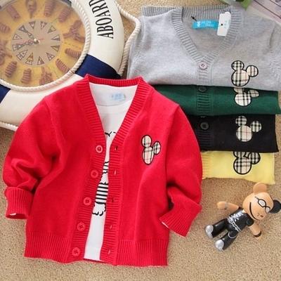 [今日特价] 春装儿童宝宝长袖针织衫春款婴儿韩版开衫潮男童女童棉线毛衣外套