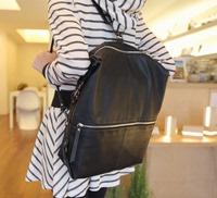韩国东大门时尚女包背包软面百搭皮革纯色双肩包
