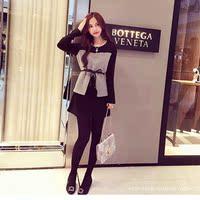 秋冬款长袖新品韩版大码女装打底裙时尚气质拼接显瘦中连衣裙