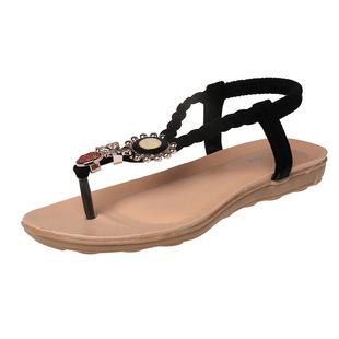 2015夏款夏季时尚凉鞋女串珠波西米亚低跟夹趾沙滩鞋甜美女鞋潮女