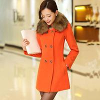 2015冬季韩版毛呢外套女中长款修身长袖双排扣毛领毛呢大衣外套潮