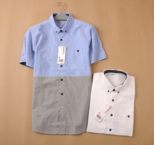 Baleno authentic Men's leisure Oxford spinning color piece together cultivate one's morality short sleeve shirt 88504019