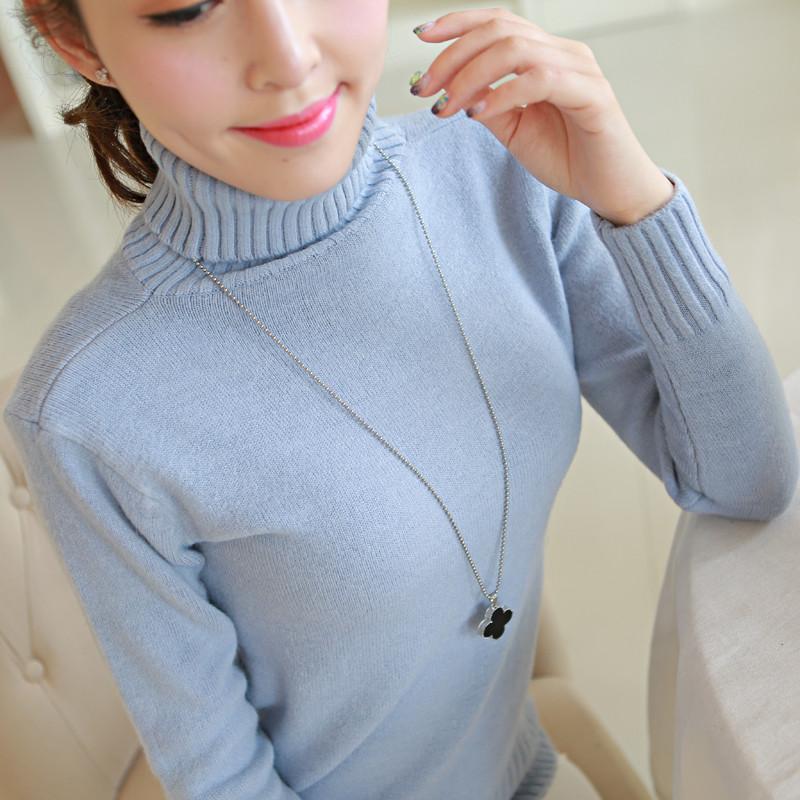 2016秋装新款女装高领毛衣女套头加厚韩版修身纯色针织打底衫上衣