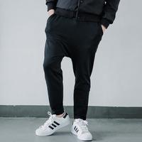 原宿109街 日系复古纯黑色高弹力罗马布哈伦裤 韩版修身潮流9分裤