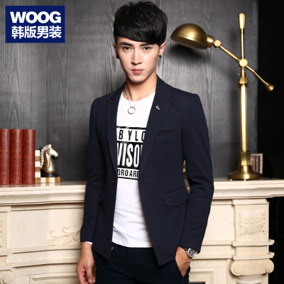 WOOG2005 Korean men's 2014 autumn new men's blue suit leisure suit tide then west England