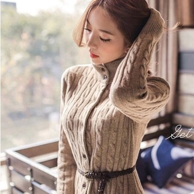 Hitz 2014 Women Korean version was thin hedging Slim Long Spring cardigan sweater coat sweater woman