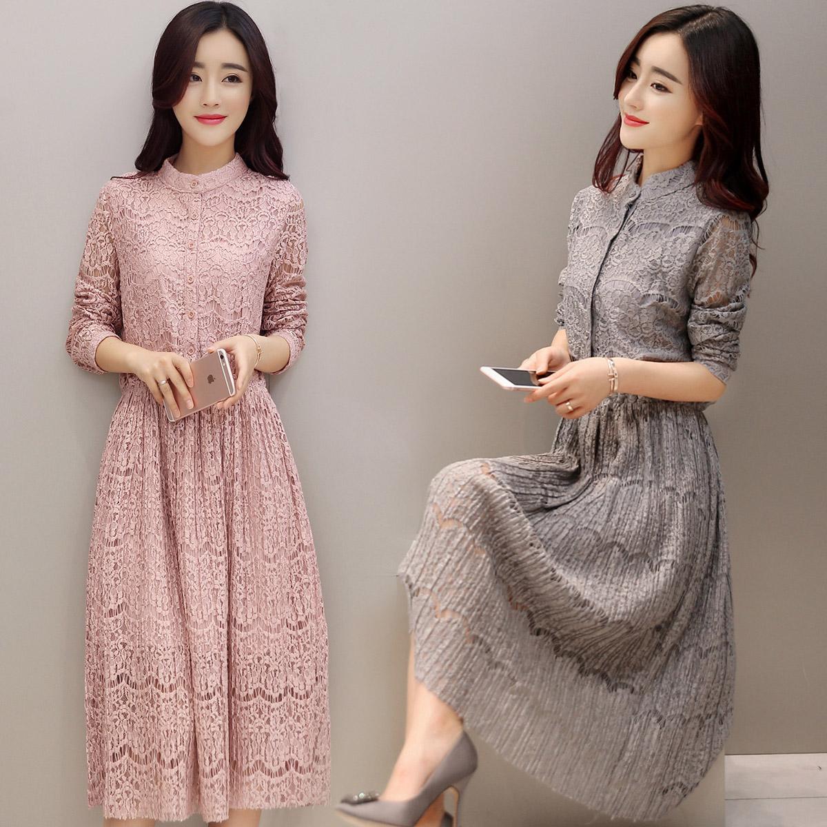 2016春装新款女装中长款蕾丝连衣裙韩版修身显瘦通勤OL打底连衣裙