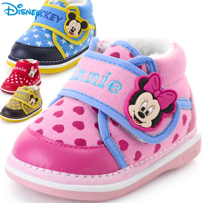 Soft-soled baby shoes toddler shoes new boys 1-2 years old Disney winter female cotton-padded shoes Jiao Jiao young children