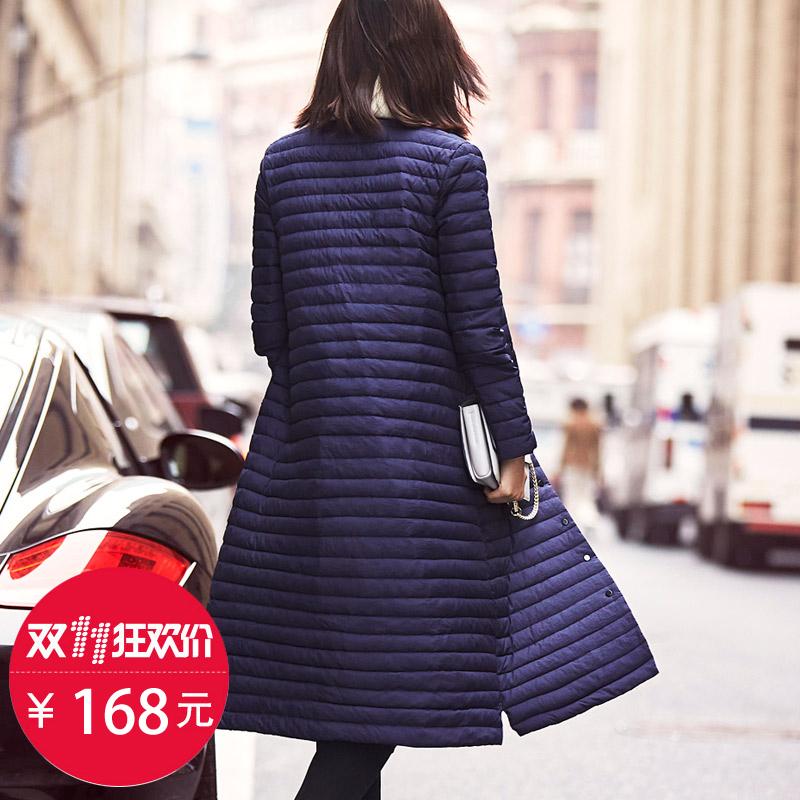浅朵韩版中长款立领女单排扣轻薄款时尚修身过膝羽绒服外套女