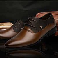 秋款透气尖头牛皮鞋男士鞋英伦商务真皮头层皮休闲单鞋子系带婚鞋