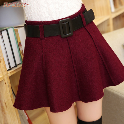 2014 fall and winter clothes new Korean version of Slim woolen skirt skirts autumn and winter wild bottoming skirt with belt