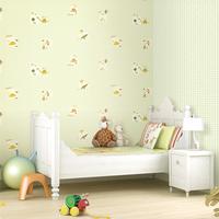 韩国壁纸 卡拉 现代方格动物卡通图案AB版 儿童卧室满铺墙纸 现货
