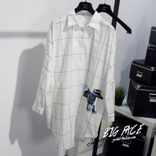 The new zo * mag spring South Korea long joker loose color matching grid after the short and long sleeve shirt long before the European and American wind