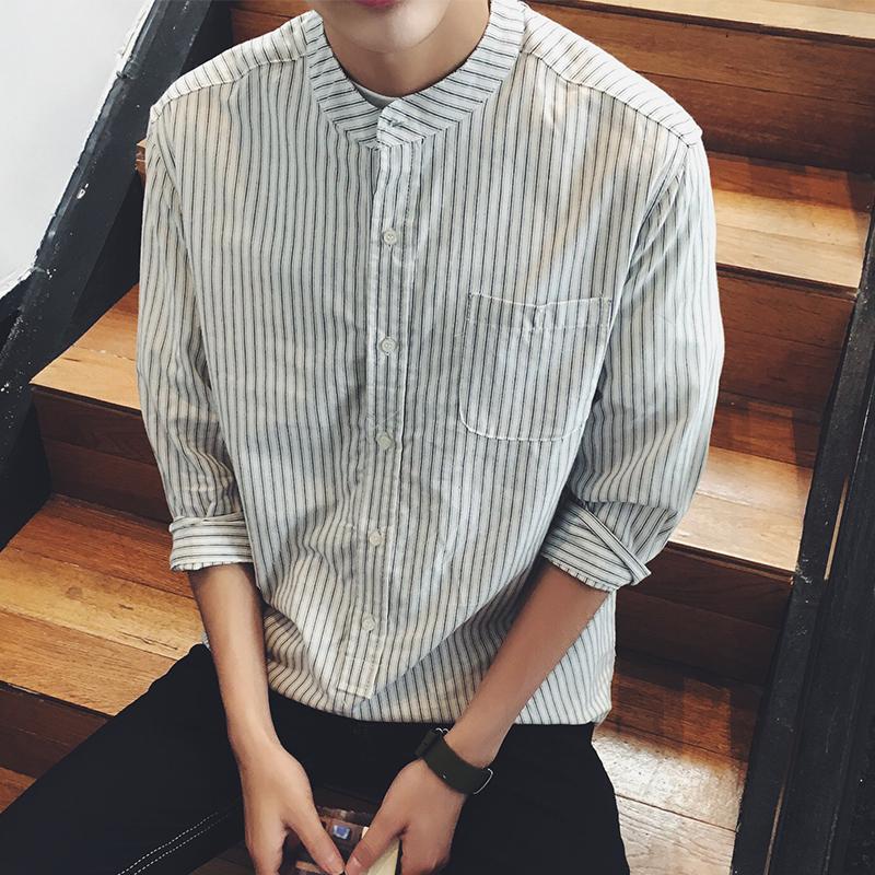 港仔青少年秋装短袖衬衫韩版修身条纹男士七分袖衬衣立领小外套潮