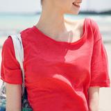 纯色英伦风圆领宽松T恤